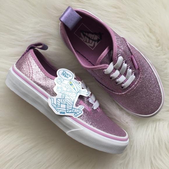 b86f9745cc1 New Pink Glitter Lurex Vans Authentic Sneakers